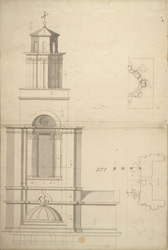 [Elevation and plan of St Anne's Church in Limehouse]